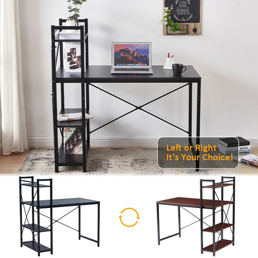 Wooden Computer Desk with 4 Tier Bookshelf Home Office Writing Table Workstation