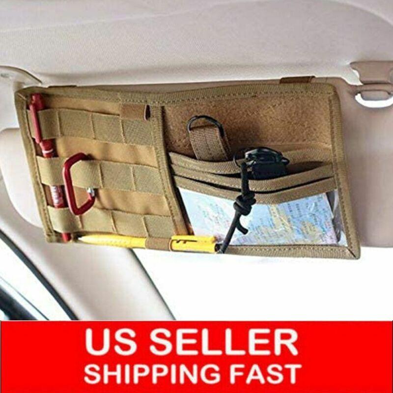 Tactical Molle Vehicle Visor Panel Car Sun Visor Truck Organizer Pouch Bag New