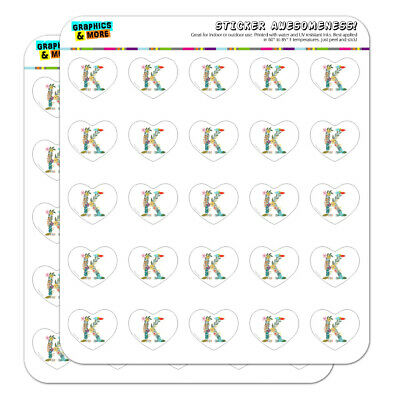 Letter K Floral Monogram Initial Heart Planner Scrapbook Craft Stickers (Letter K Craft)