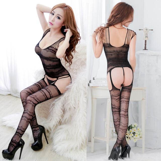 Sexy Fishnet Open Crotch Stocking BodyStocking Dress Bodysuit Lingerie Nightwear