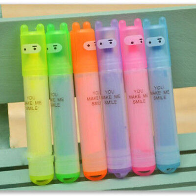 6 Pcs Mini Highlighter Marker Pen Fluorescent Gel Pen Stationery Kid Gift Lovely