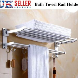 Modern Double Wall Mounted Bathroom Bath Towel Rail Holder Storage Rack Shelf UK