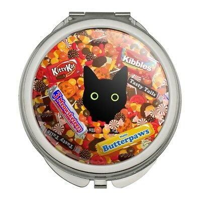 Halloween Black Cat Makeup (Halloween Black Cat Hiding in Candy  Compact Travel Purse Handbag Makeup)
