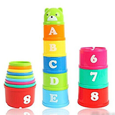 9Pcs Stacking Cups Early Educational Toddlers Toy Bathtub Toys Set for Kids (Educational Stack Toy)