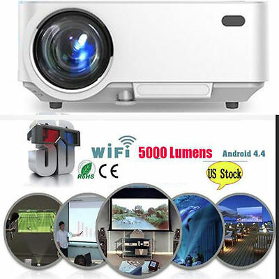 4K 3D Wifi DLP Mini Portable Full HD 1080P Home Theater Projector HDMI USB LED