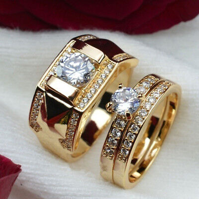 Women Gold Color Fake Diamond Mens Size 7 To 14 Size 5 To 12 Promise Ring Sets
