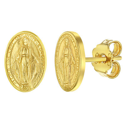 925 Sterling Silver Miraculous Virgin Mary Oval Medal Stud Earrings for Ladies