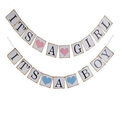 Its A Boy Girl Papier Baby Dusche Banner Girlanden Kinder Geburtstagsfeier NP2X