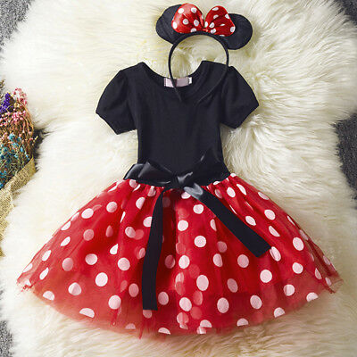 Kids Girls Christmas Minnie Mouse Tutu Dress Fancy Party Costume Ear Set - Christmas Minnie Mouse Costume