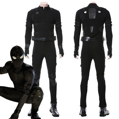 Spider-Man: Far From Home Peter Parker Cosplay Costume Black Stealth Battle Suit - Leather Spiderman Costume