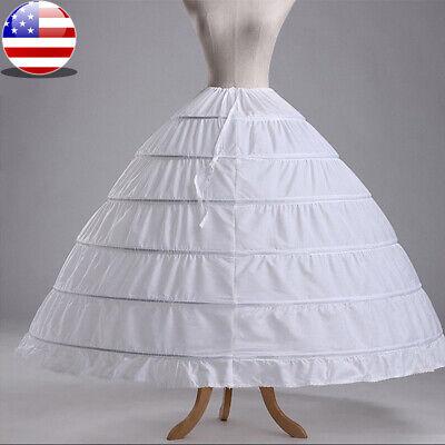 White 6 Hoop Wedding Dress Bridal Ball Gown Crinoline Petticoat Skirt Slip - White Petticoat Skirt