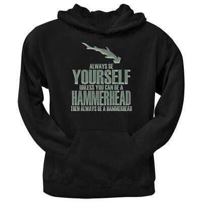 Always Be Yourself Hammerhead Shark Black Adult Hoodie