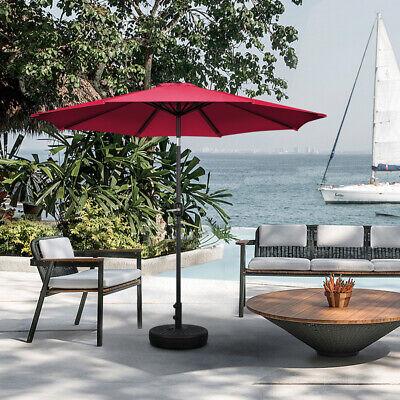 Round Garden Parasol Umbrella Sun Shade Red Outdoor Patio Crank Tilt 2.5 M