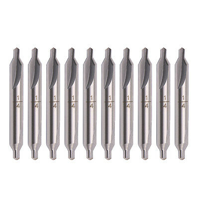 10x A-type 14 Tip Hss Combined Center Drill 60 Degree Angle Countersink Bit