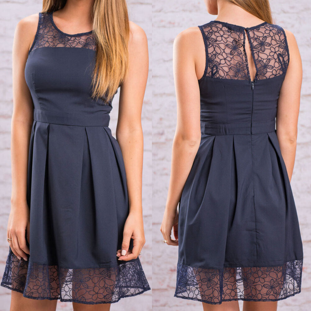 Women Summer Lace Solid Sleeveless Mini Dress Casual Loose Party Short Sundress Clothing, Shoes & Accessories