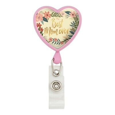 Best Mom Ever Pretty Flowers Mother's D Heart Lanyard Reel Badge ID Card