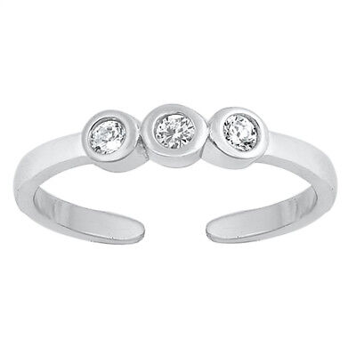 AdjustableThree Stone Clear CZ Toe Ring Sterling Silver 925 Ship from USA