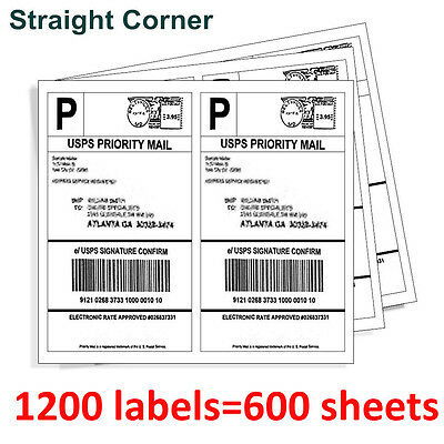 1200 Half Sheet 8.5x5.5 Self Adhesive Shipping Labels Blank For Usps Paypal Ebay