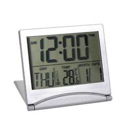 Silver Desk Alarm Clock Calendar Alarm Day Temperature Digital Large Number LCD