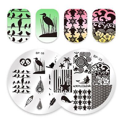 2Pcs BORN PRETTY Nail Stamping Plates Round Bird Mermaid Nail Art Stamping Image