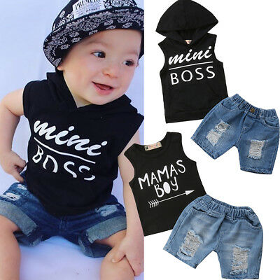 US Cool Kids Boys Baby Clothes Summer Hoodie T-Shirt Tops+Short Jeans Outfits (Cool Baby Outfit)