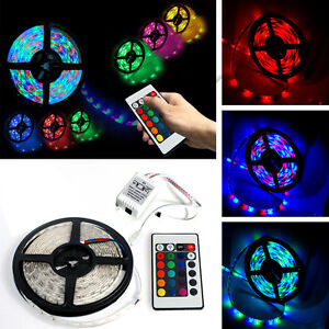 5M New 3528 SMD RGB Waterproof IP44 300 LED light Strip + 24 Key Free IR Remote