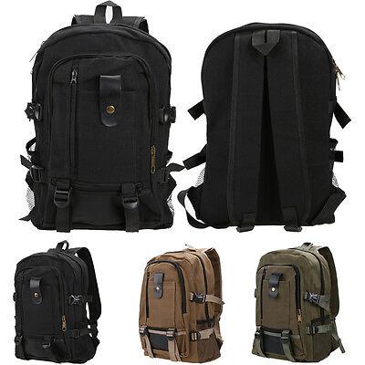 Mens Canvas Backpack School Rucksack Vintage Satchel Shoulder Large Travel Bag