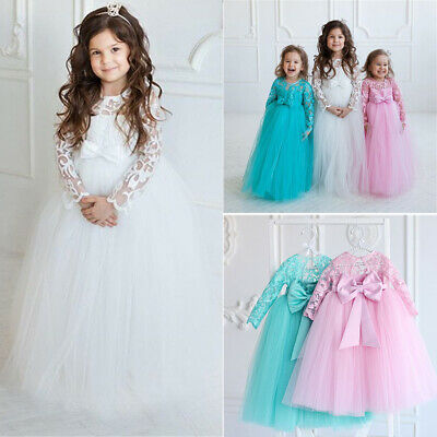 US Toddler Baby Girls Flower Dress Princess Party Pageant Dresses Kids -