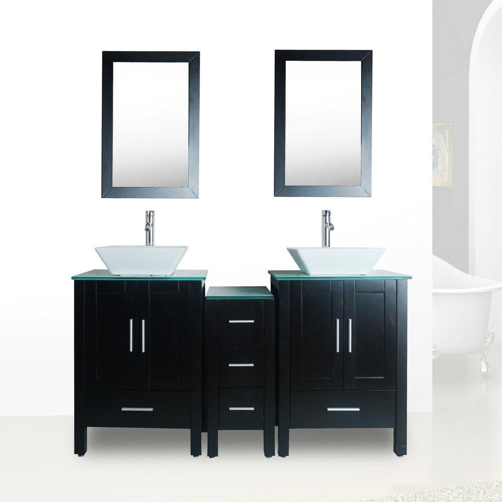Details About Black 60 Double Sink Bathroom Vanity Cabinet Glass Top W Mirror Faucet Drain