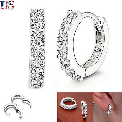 New Fashion Women's Jewelry Crystal 925 Silver Hoop Diamond Earring Stud Wedding
