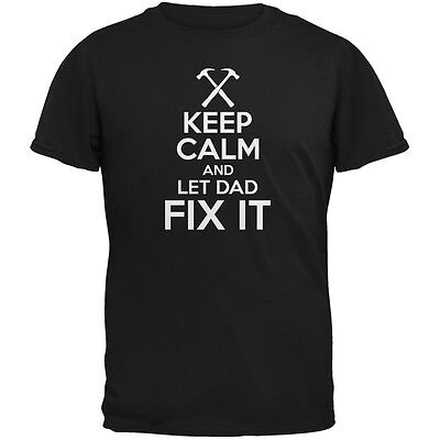 Fathers Day Keep Calm Let Dad Fix It Black Adult T-Shirt Hole Adult T-shirt
