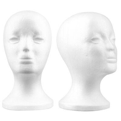 Styrofoam Foam Mannequin Female Head Model Dummy Wig Glasses Hat Display Stand Y