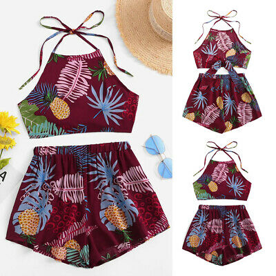 US Kids Baby Girl Toddler Clothes Floral Tank Tops Shorts Pants 2PCS Outfit Set