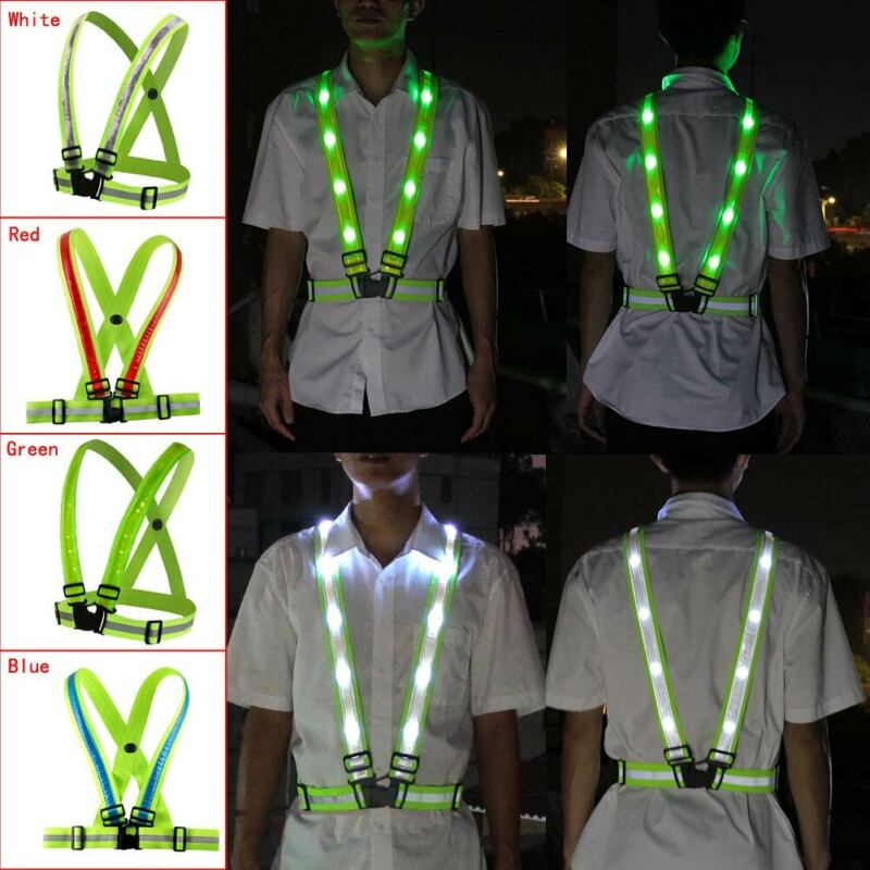 Safety  Adjustable Rechargeable LED  Reflective Belt Vest for Running Cycling