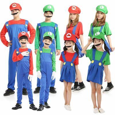 Super Mario Costume For Women (Mens Women Adult Kids Super Mario Luigi Bros Cosplay Fancy Dress Costume)