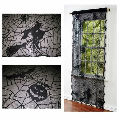 Black Lace Curtains (LED Black Lace Door Window Curtain Halloween Black Witch Spiderweb Cover)