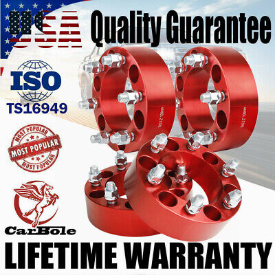 """4x 2"""" Thick 6x5.5 M14x1.5 HubCentric Wheel Spacers For Chevy Silverado 1500 GMC"""