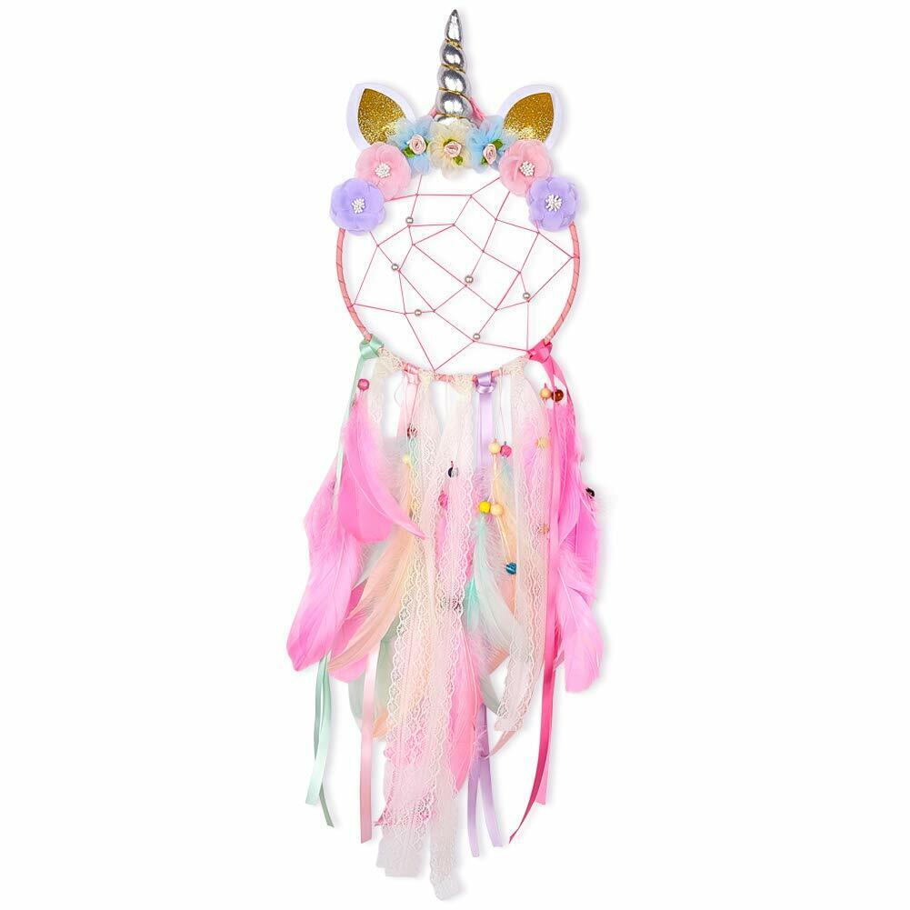 Unicorn Dream Catcher PINK Flower Feather Pendant Wall Hanging for Car Home Collectibles