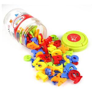 Kids Magnetic Alphabet Letter Maths Number Symbol Fridge Magnets In Jar 78Pcs