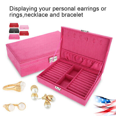 Earring Necklace Organizer Storage Box Holder Velvet Jewelry Display Showcase