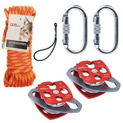 Block and Tackle Kit 7100lb Pulley with 11.5mm Double Braid Rope Rescue Hauling
