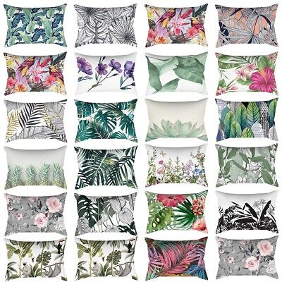 Rectangle Pillow Cases Floral Leaves SofaThrow Waist Cushion Cover Home Decor