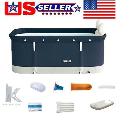 US Folding Bathtub Adult Kid Portable Spa Sauna Bath Rectangle Bucket Water Tub