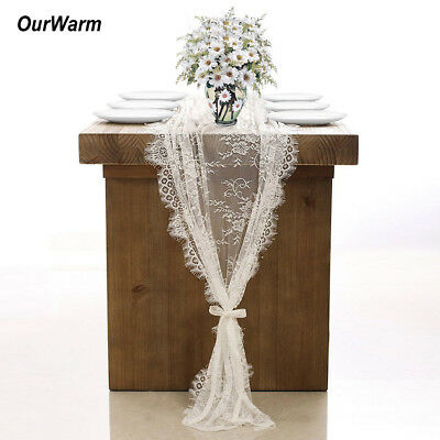 White Lace Table Runner Floral Table Cloth Rustic Boho Wedding Birthday Decor - Shabby Chic Birthday Party Decorations