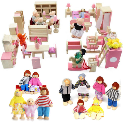 Holz Miniatur Familie Möbel House Puppen 6 Zimmer Set Puppen für Kinder
