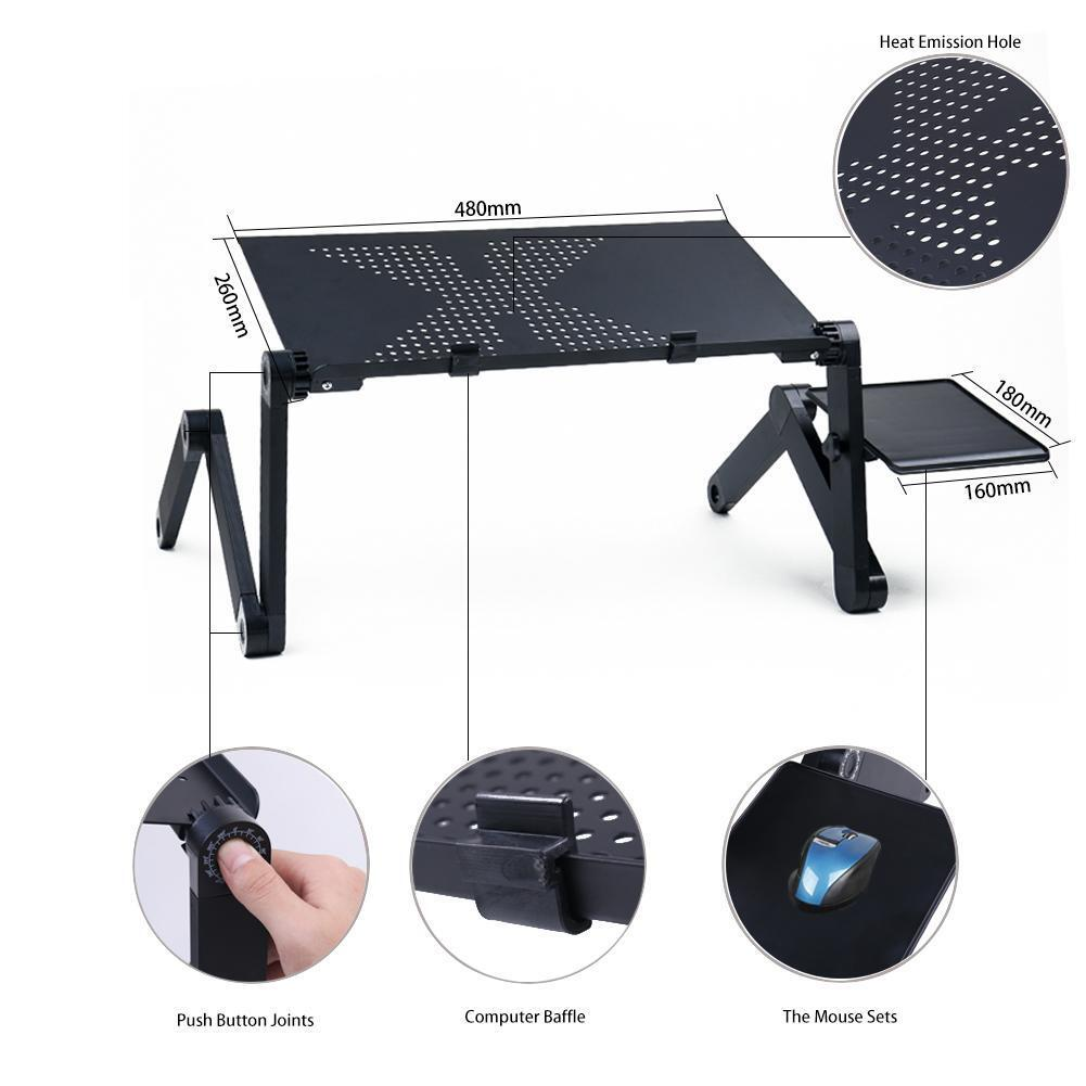 360° Adjustable Folding Laptop Notebook Desk PC Table Stand Bed Tray W/ Mouse