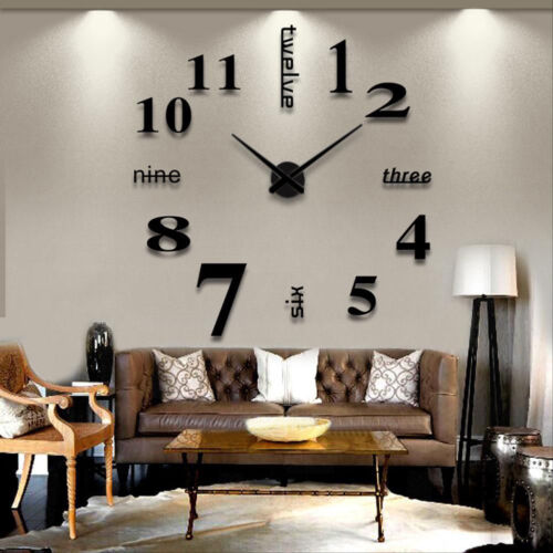 Modern DIY Large Number Wall Clock 3D Mirror Surface Sticker Home Decor Gifts UK