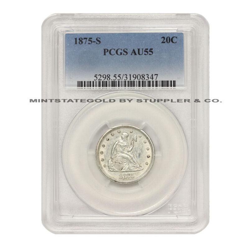 1875-S 20c Silver Seated Liberty Twenty Cent PCGS AU55 graded San Francisco coin