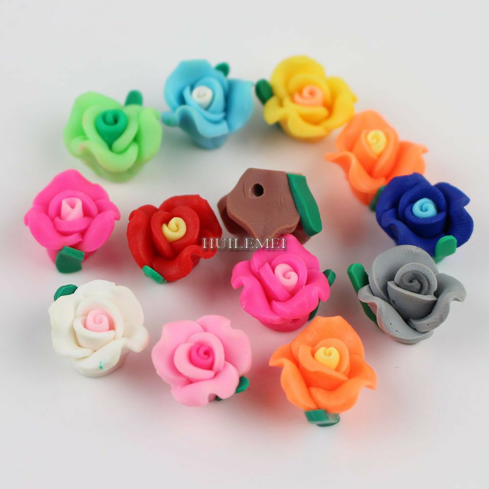 50pcs//lot 13mm Mixed Color Polymer Clay Flower Beads for DIY Jewelry Making