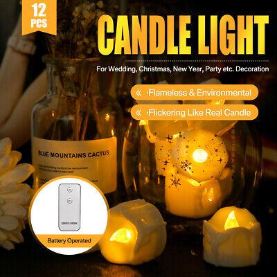 Flicker Tea Lights (12Pcs LED Flickering Flame Battery Tea Lights Flameless Candle Remote)
